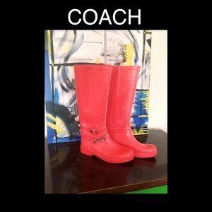 COACH Pink Rain Boots Size 8 ☔️
